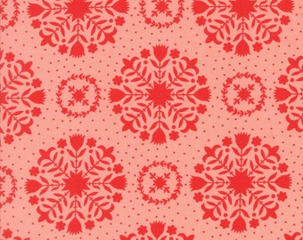 Handmade - Olivia in Red and Coral: sku 55141-23 cotton quilting fabric by Bonnie and Camille for Moda Fabrics - 1 yard