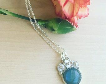 Labradorite Necklace Flower Crown Pendant Sterling Silver Blue Flash Cabochon