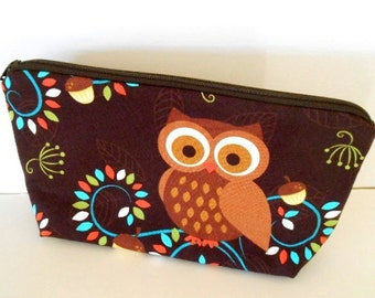 Owl Large Padded Cosmetic Bag Flat bottom ECO Friendly Zipper Pouch NEW Happy Owls