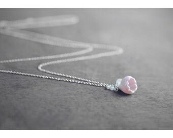 Sakura ceramic necklace, Cherry blossom necklace Rose quartz necklace Pink necklace Silver necklace Floral necklace Mothers necklace -boohua