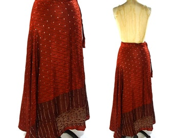 90s Silk Wrap Around Maxi Skirt / Vintage 1990s Indian Sari Hippie Boho Gypsy Bohemian Long Skirt Dark Red Floral Fabric / Unworn / S M L