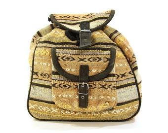 Woven Cotton Backpack / Vintage 1990s Bohemian Ethnic Folk Bag / Vegan
