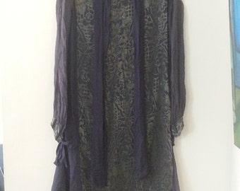 Rare antique burgundy silk and velvet brocade dress with very unique design details, beautiful style, very elegant