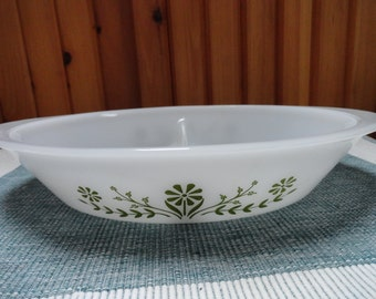 Glasbake Green Daisy Large Vegetable Serving Dish with Divider
