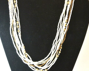 White and Gold Bead Multi Strand Bead Necklace, Vintage Bead Necklace, Mid Century 8 Strand Necklace, Christmas Gift