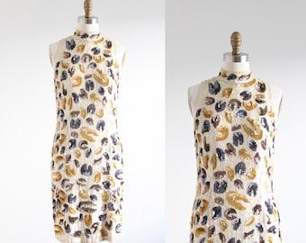 Vintage Cream Silk Sequin Design Dress