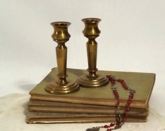Pair Vintage Solid Brass Short Candlesticks, Church Altar Candle Holders
