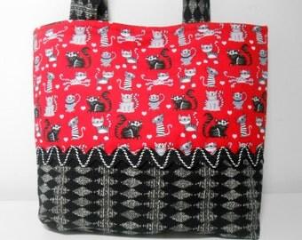 Black Cat Mini Purse, Red Tiny Tote Bag, Cat Gift Bag, Child Size Purse