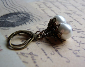 Pearl Earrings Antique Brass Lever Back Ear wire 8 mm Glass Pearl Dangle Gift Boxed Lifetime Guarantee
