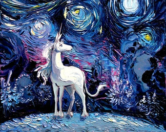 Last Unicorn Art - Starry Night Giclee print van Gogh Never Saw The Last by Aja 8x8, 10x10, 12x12, 20x20, and 24x24 inches choose your size