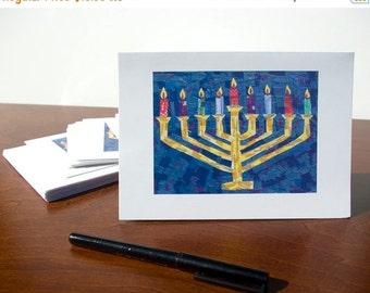 50% OFF SALE - HANUKKAH Cards - Set of 10 Menorah Greeting Cards, Judaica, Happy Hanukkah Cards, Jewish Holiday Cards, Chanukah Cards