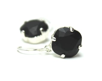 MATTE Black Crystal Dangle Earrings Classic Opaque Jet Charcoal Solitaire Swarovski 12mm 10mm Drop Sterling Silver Gold Underworld Vampy
