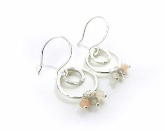 Dangle Earrings Wire Earrings Hammered Earrings Small Hoop Earrings Wire Wrapped Jewelry Moonstone Jewelry Artisan Made by Durango Rose