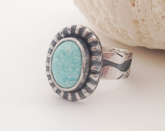 Egret Bird Turquoise Ring, Size 6 1/2, Light Blue Stone, Sterling Silver Ring Artisan Wide Band Ring, Silversmith Boho Chic Statement Ring