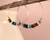 Multicolored Ceramic Bead Hoop Earrings,   Small Silver Hoops with Mykonos Greek Ceramic Beads