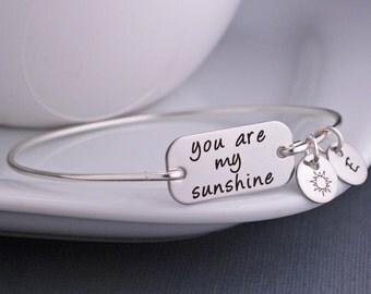 Kids Jewelry, Kids Bracelet, Child, You are my Sunshine Bracelet, Silver Bangle Bracelet, Jewelry Gift, Sunshine Jewelry