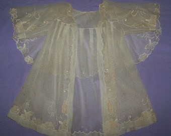 1900's  Vintage Beautiful OOAK Net Baby Coat With Applique Immense Collar Baby French Doll