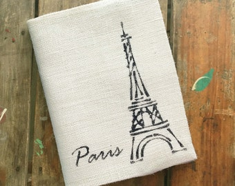 Eiffel Tower - Burlap Journal Cover w. Notebook - French Paris Travel Journal, Diary, Sketchbook