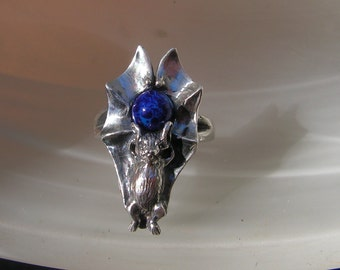 Sterling Silver Bat Ring With Lapis Lazuli