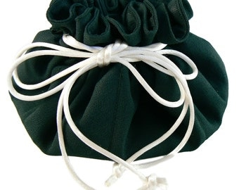 Dark green crepe travel jewelry pouch with ivory cording, Limited Edition