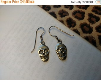 FLASH SALE Memento Mori Steampunk Sterling Silver Goth Gothic Skull Earrings Day of the Dead