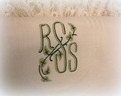 3 matching vintage monogram tea towels . off white two tone green R S S monogram