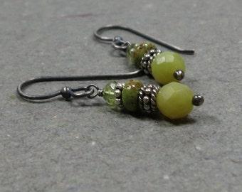Gaspeite Earrings Olive Green  Earrings Serpentine Earrings Peridot Earrings Oxidized Sterling Silver Earrings
