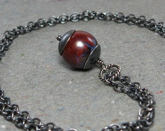Boulder Opal Necklace October Birthstone Brown Gemstone Pendant Oxidized Sterling Silver