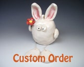 Custom order for SoulDoctorDesigns -  Bunny with Red Flower