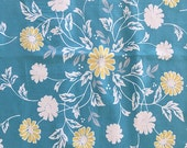 SALE - table cloth blue Daisy border/yellow floral accents vintage/retro shabby/cottage chic