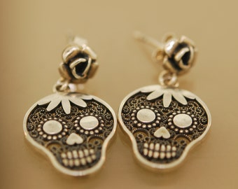 Filigree Day of Dead Skull Earrings