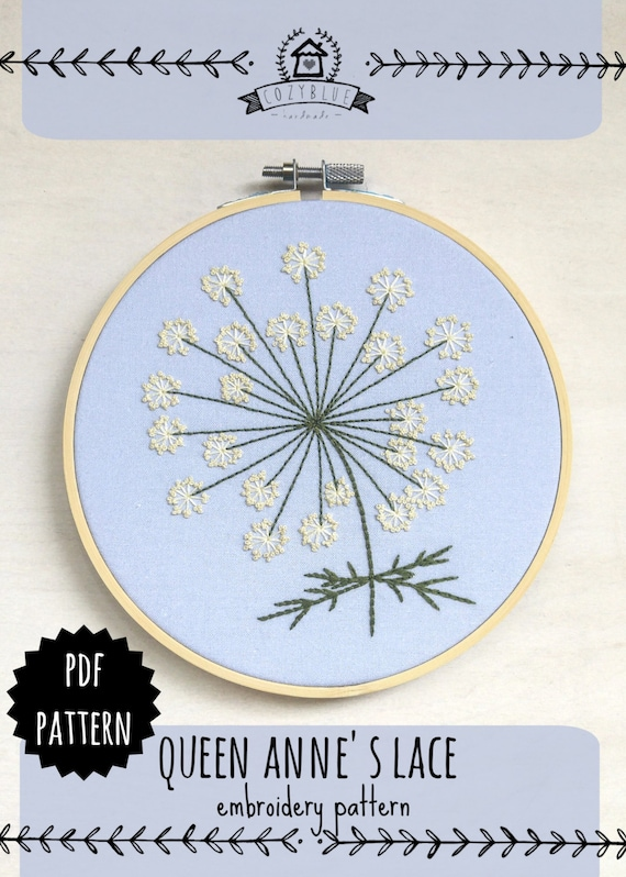 Queen annes lace pdf embroidery pattern hoop