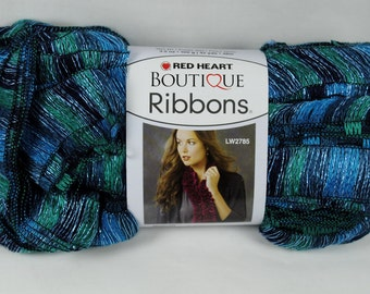 Red Heart Boutique Ribbons Ruffle Scarf Yarn - Laguna