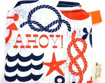 X Small 6.5 x 6.5 Wet bag / Reusable Snack Bag / Toys / Electronics / Michael Miller Ahoy Matey Nautical Fabric / SEALED SEAMS