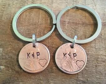 Penny Keychains-anniversary Keychains-hand stamped anniversary keychains-couples keychains