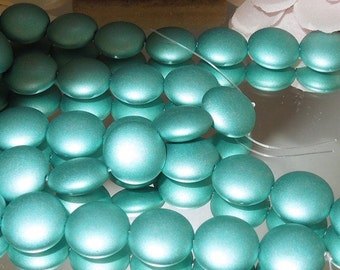 4 Pressed Czech Glass Lentil Beads- Satin Metallic Teal- 14mm- Bastet's Beads
