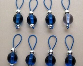 Capri Blue and Alexandrite Stitch Markers - US 10 - Item No. 517