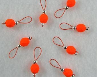 Neon Orange Knitting Stitch Markers - US 5 - Item No. 979