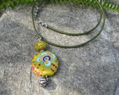Happy Hippie bead pendant necklace - Lampwork & leather choker Artisan jewelry