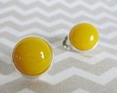Clip On Earrings, Sunflower Yellow Fused Glass Clip-On Button Earrings For Unpierced Ears