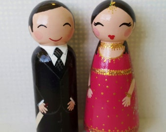 Hand Painted Love Boxes Custom Wedding Indian Bride Groom Cake Topper Peg Doll Wood
