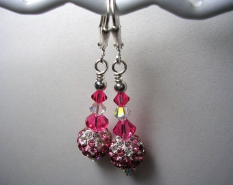Sparkly Pink Pave Earrings Swarovski Crystal Pink  White 10mm Rhinestone Earrings Pink Clear Dangles Earrings Leverback Hooks Wire Wrapped