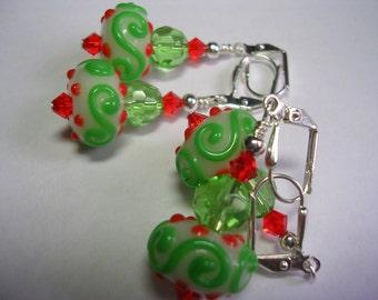 Hyacinth Orange and Peridot Green Earrings Swarovski Crystal Earrings Lampwork Earrings Leverback Hooks Gifts under 5