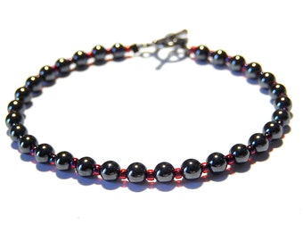 Hematite Bracelet, Stacking Bracelet, Beaded Bracelet, Metallic Gray, Unisex Bracelet, Seed Bead Jewelry