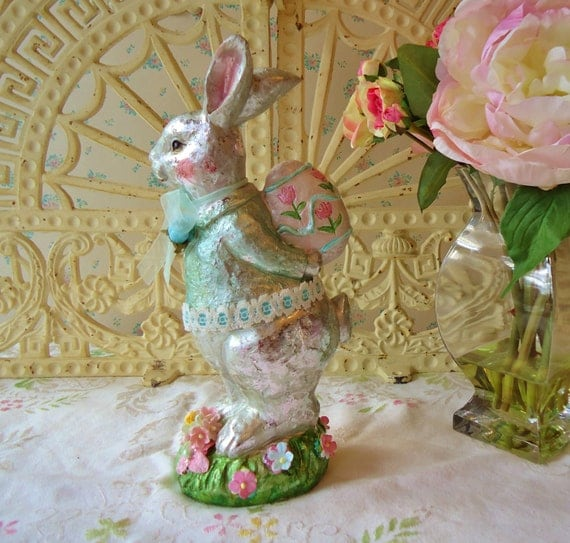 Shabby Easter Bunny Pink Roses Pastel Foil Faux Chocolate