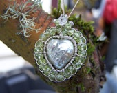 Pearl heart woven with sterling silver, Faceted Peridot rondelle,  necklace