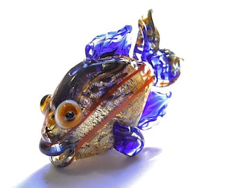 Shiny cobalt blue glass fish necklace, Lampwork Glass Beads, handmade animal pendant, focal bead, ocean bead, designer jewelry supplies