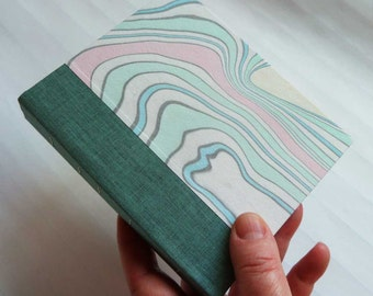 Handbound Journal with a cover featuring unique suminagashi marbling