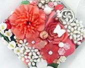 Half Off Sale Hand Mirror - Coral Floral Fusion - Repurposed Jewelry - M001019