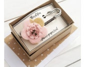 Floral Saftey Pin Brooch - Pink and Gold Embroidered Floral Fabric and Wool Felt Safety Pin Brooch and Sweater Pin